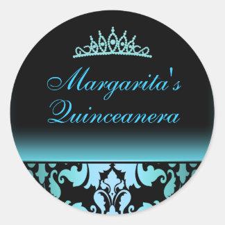 Blue Damask Elegant Quinceanera Sticker