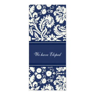 Blue Damask Elopement Announcement Cards