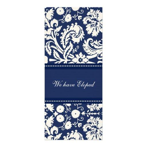Blue Damask Elopement Announcement Cards