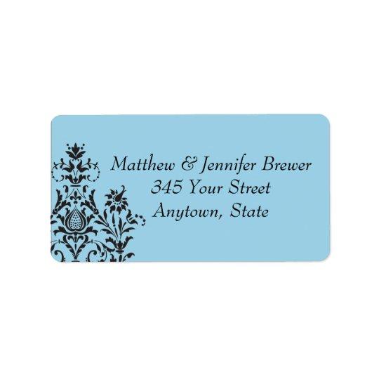 Blue Damask Envelope Address Labels