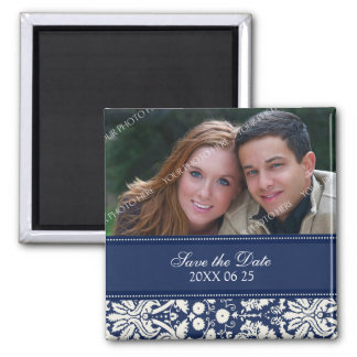 Blue Damask Floral Photo Save the Date Magnet