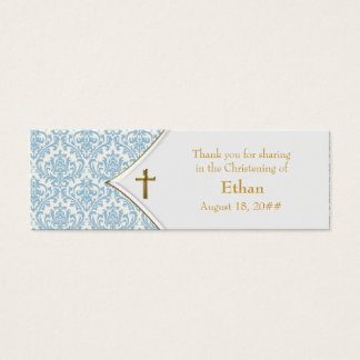 Blue Damask Gold Cross Bomboniere Tags