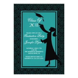 Blue Damask Graduation Invitation Silhouette Grad