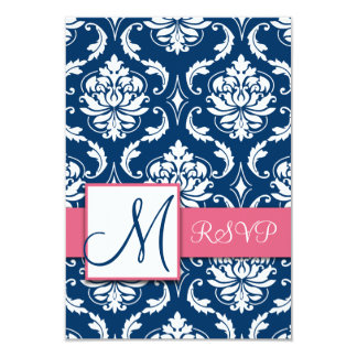 Blue Damask Initial RSVP Cards for Square Invites