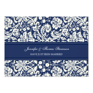 Blue Damask Just Married Announcement Cards