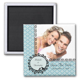 Blue Damask Love Birds Photo Save The Date Magnet