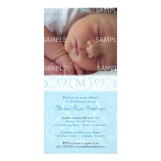 Blue Damask Monogram Baptism/Christening Photo Card Template