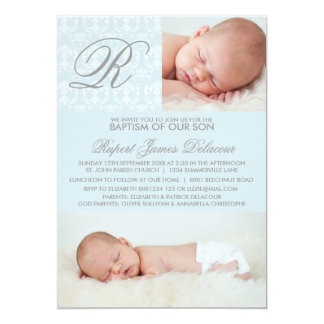 Blue Damask Monogram Baptism Photo Invitation