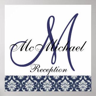 Blue Damask  Monogram Wedding Reception Sign Poster
