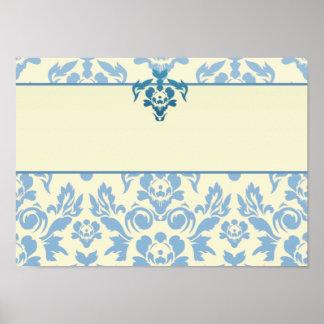 Blue Damask on Cream Background Wedding Print
