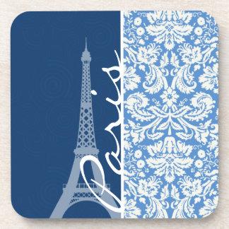 Blue Damask; Paris Coasters