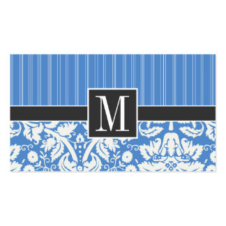 Blue Damask Pattern Double-Sided Standard Business Cards (Pack Of 100)