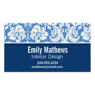 Blue Damask Pattern Pack Of Standard Business Cards
