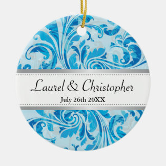 Blue Damask Pattern Save the Date Round Ceramic Decoration