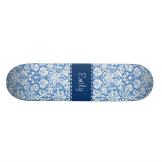 Blue Damask Pattern Skateboard Deck