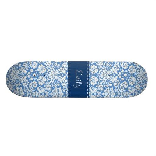 Blue Damask Pattern Skateboard Deck