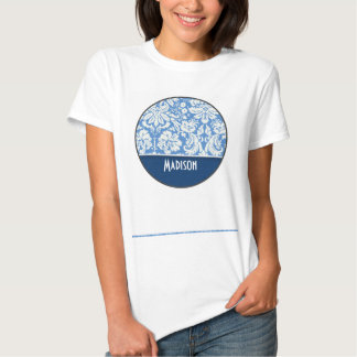 Blue Damask Pattern Tee Shirt