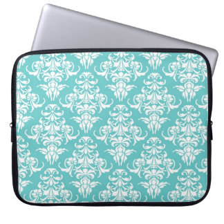 Blue damask pattern vintage girly chic chandelier laptop computer sleeves