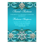 Blue Damask & Pearl Sweet 16 Birthday Invite