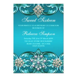 Blue Damask & Pearl Sweet 16 Birthday Invite