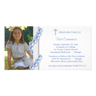 Blue Damask Pearls First Communion Photo Invite Photo Greeting Card