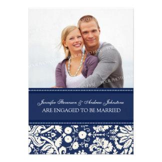 Blue Damask Photo Engagement Announcement Cards