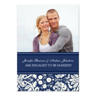 Blue Damask Photo Engagement Announcement Cards