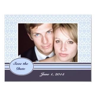 "Blue Damask Photo Save the Date Card 4.25"" X 5.5"" Invitation Card"
