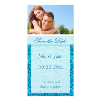 """Blue Damask/photo  """"Save the Date"""" Photo Greeting Card"""