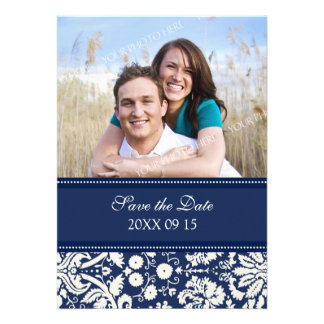 Blue Damask Photo Wedding Save the Date Card