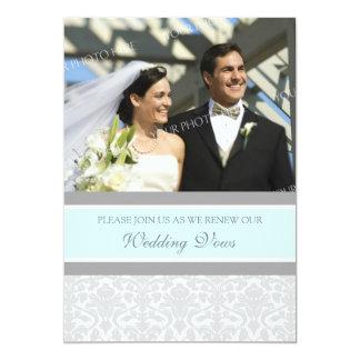 Blue Damask Photo Wedding Vow Renewal Invitations