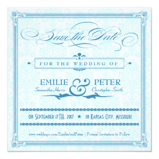 "Blue Damask Poster-Style Save the Date 5.25"" Square Invitation Card"
