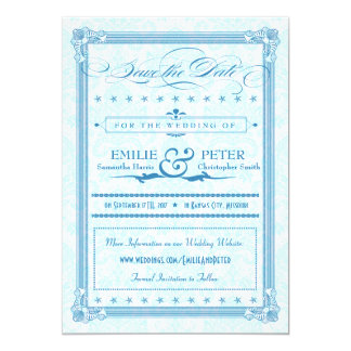 "Blue Damask Poster-Style Save the Date 5"" X 7"" Invitation Card"