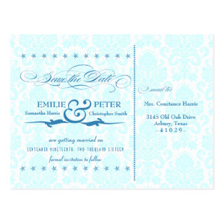 Blue Damask Poster-Style Save the Date Postcard