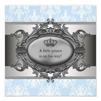 Blue Damask Prince Baby Boy Shower Card