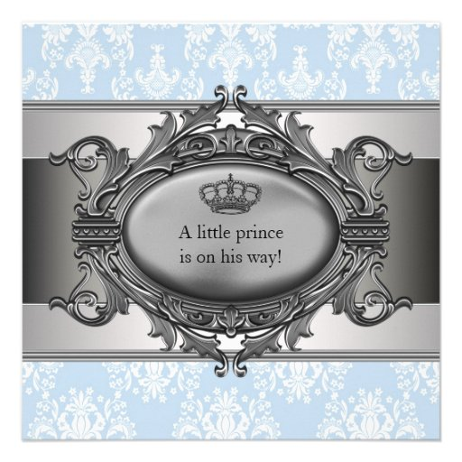 Blue Damask Prince Baby Boy Shower Invitation