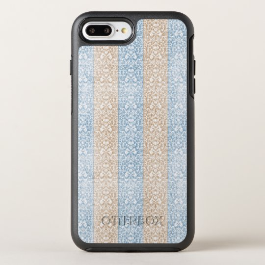 Blue Damask Ribbon Candy Stripes Kawaii Lines OtterBox Symmetry iPhone 7 Plus Case