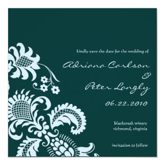 Blue Damask Save the Date 13 Cm X 13 Cm Square Invitation Card