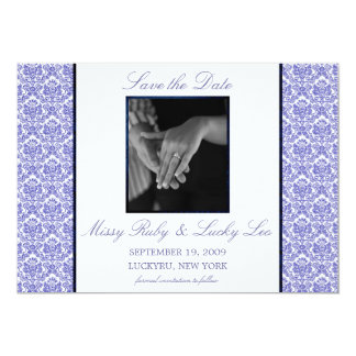 Blue Damask Save the Date Announcement