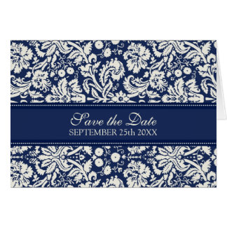 Blue Damask Save the Date Announcement Card