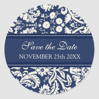 Blue Damask Save the Date Envelope Seal Round Sticker