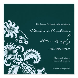 Blue Damask Save the Date Personalized Invitation
