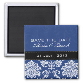 Blue Damask Save the Date Magnet