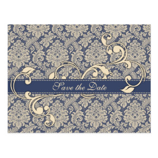 Blue Damask Save the Date Postcard - TBA