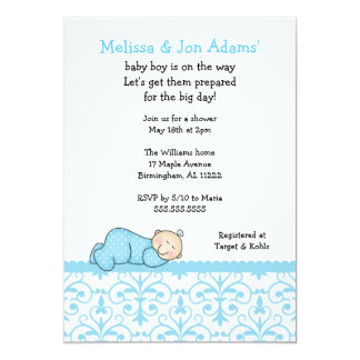 Blue Damask Sleeping Baby Boy Shower Invite