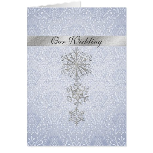 Blue Damask & Snowflakes Winter Wedding Invitation Card