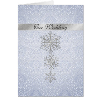 Blue Damask & Snowflakes Winter Wedding Invitation Greeting Card