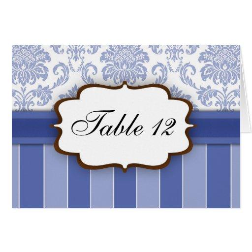 Blue Damask Stripe Table Number Greeting Cards