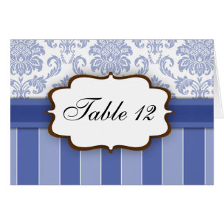 Blue Damask Stripe Table Number Greeting Cards