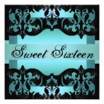 Blue Damask Sweet16 Elegant Birthday Invite